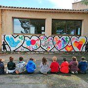 Fresque avec les enfants de l'école communale Nelly Ovadia de Tourtour en mai 2021